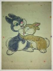 Two funny bunnies embroidery design