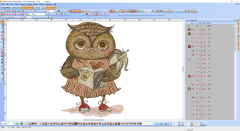 Owl with gift embroidery design preview digitizing