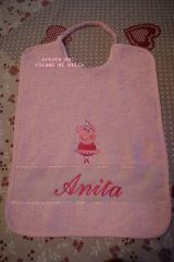 Baby bib with peppa pig ballerina embroidery design