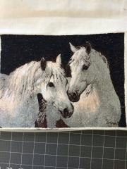 White horses embroidered free design
