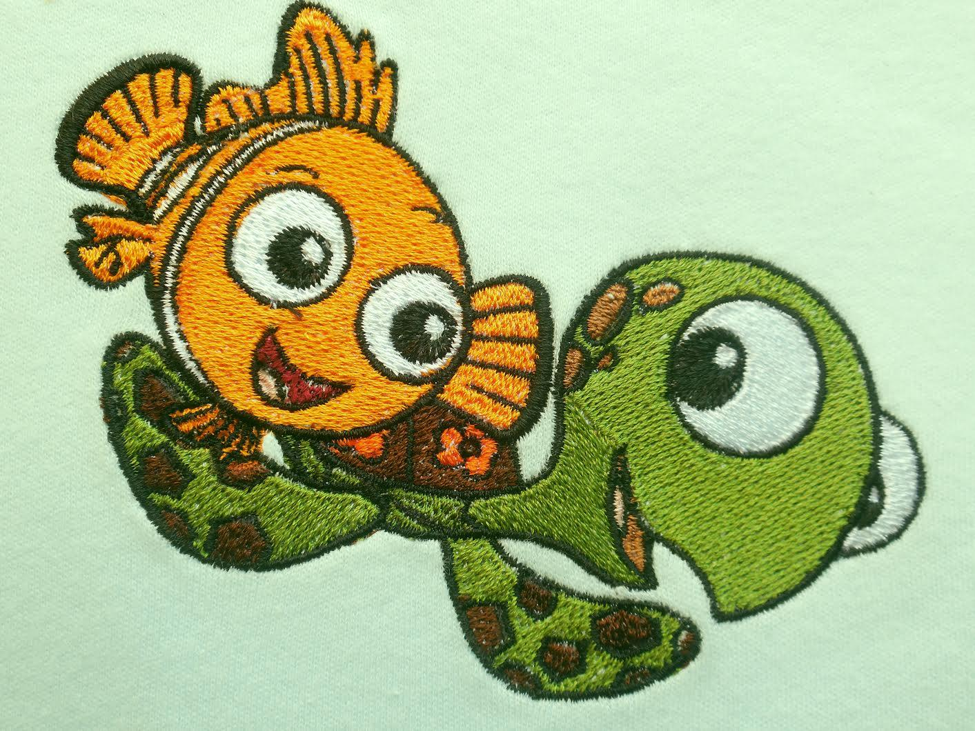 Nemo and Squirt embroidery design