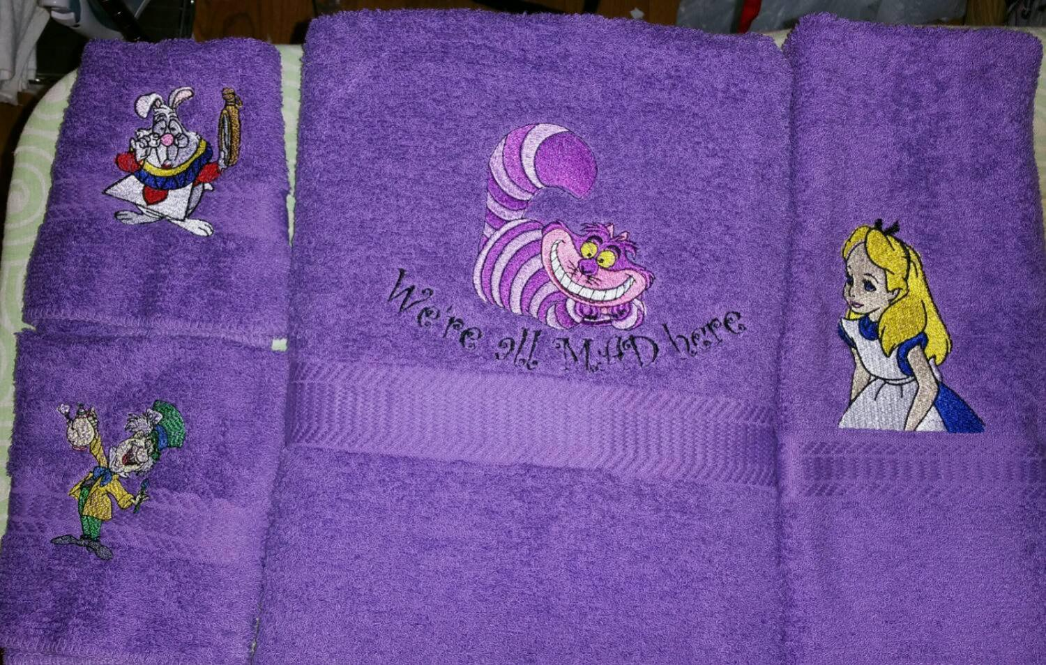 Towels with Alice in Wonderland embroidery designs