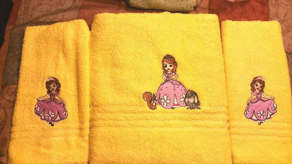 Towels with Sofia The First embroidery design