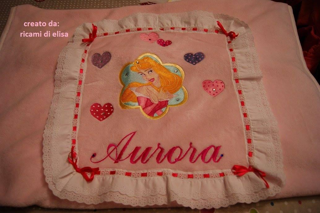 Napkin with Aurora embroidery design