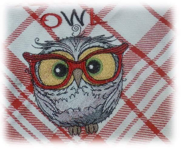 Towel with funny wise owl embroidery design