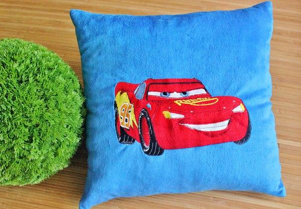 Cushion with Lightning McQueen embroidery design