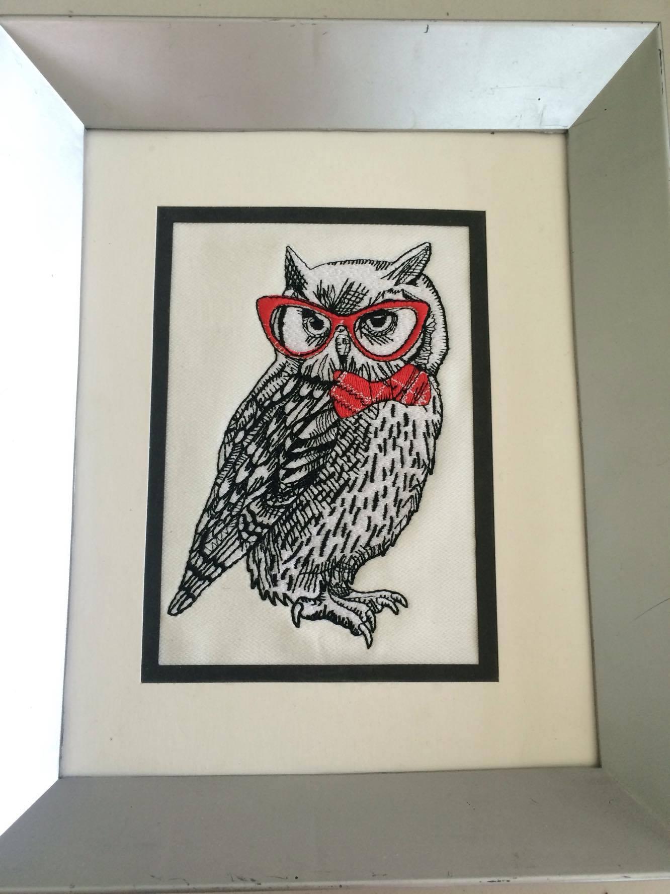 Framed Polar owl in glasses embroidery design