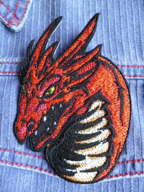 Rock dragon embroidery design