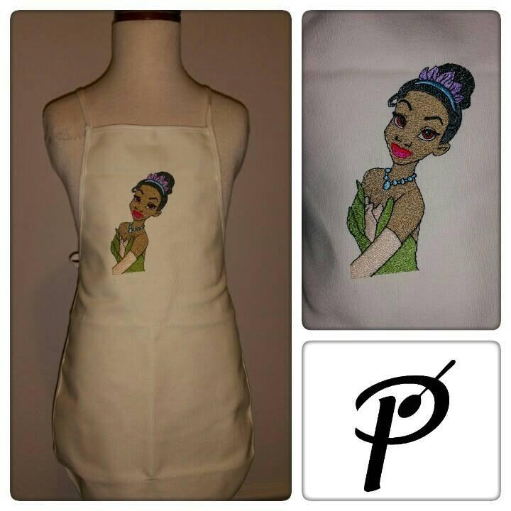 Kitchen apron with Tiana embroidery design