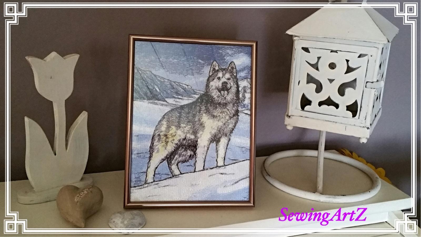 Huskies photo stitch free embroidery