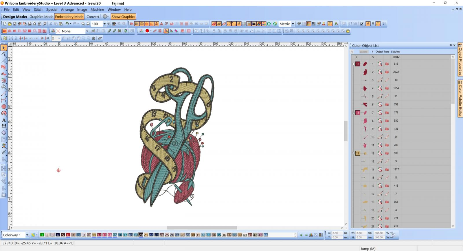 Scissors, measure and needle bar embroidery design preview
