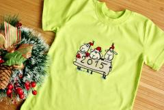 Shirt with Christmas sheep embroidery design