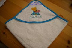 Bathroom towel with Baby Pooh and Piglet embroidery design