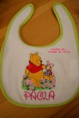 Baby bib with Winnie Pooh and Piglet embroidery design