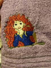 Towel with Brave Princess Merida with arrow embroidery design