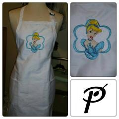 Kitchen apron with Cinderella embroidery design