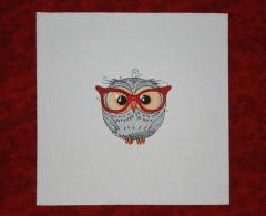 Funny wise owl embroidered design