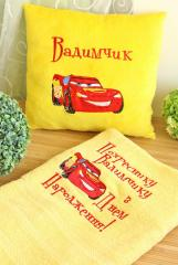 Birthday set with Lightning McQueen embroidery design