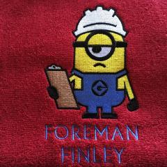 Minion the builder embroidery design