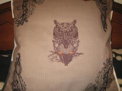 Cushion with Tribal owl embroidery design
