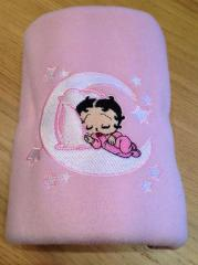 Baby napkin with Betty sleeping on the Moon embroidery design