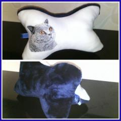 Embroidered pillow with british shorthair cat free embroidery design