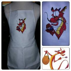 Kitchen apron with Dragon embroidery design