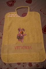 Baby bib with Easter bunny embroidery design