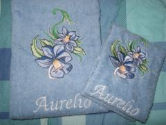 Towels with Flower embroidery design