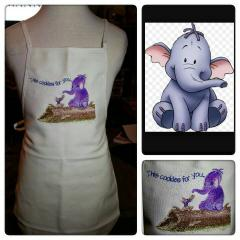 Kitchen apron with Heffalump and Roo embroidery design