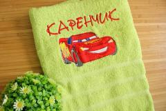 Bath towel with Lightning McQueen embroidery design