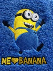 Towel with Minion love banana embroidery design