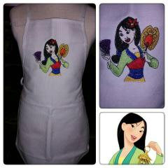 Kitchen apron with Mulan with fans embroidery design