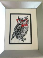 Framed Polar owl in glasses embroidery design