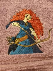 Towel with Princess Merida shot an arrow embroidery design