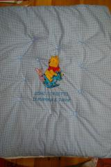Napkin with Winnie Pooh and Piglet riding Rocking Horse embroidery design