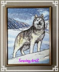 Huskies free embroidery design