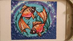 Zodiac sign fish photo stitch free embroidery design