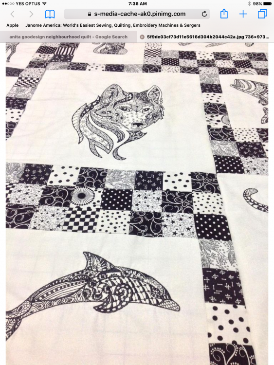 Marine style quilt with embroidery designs