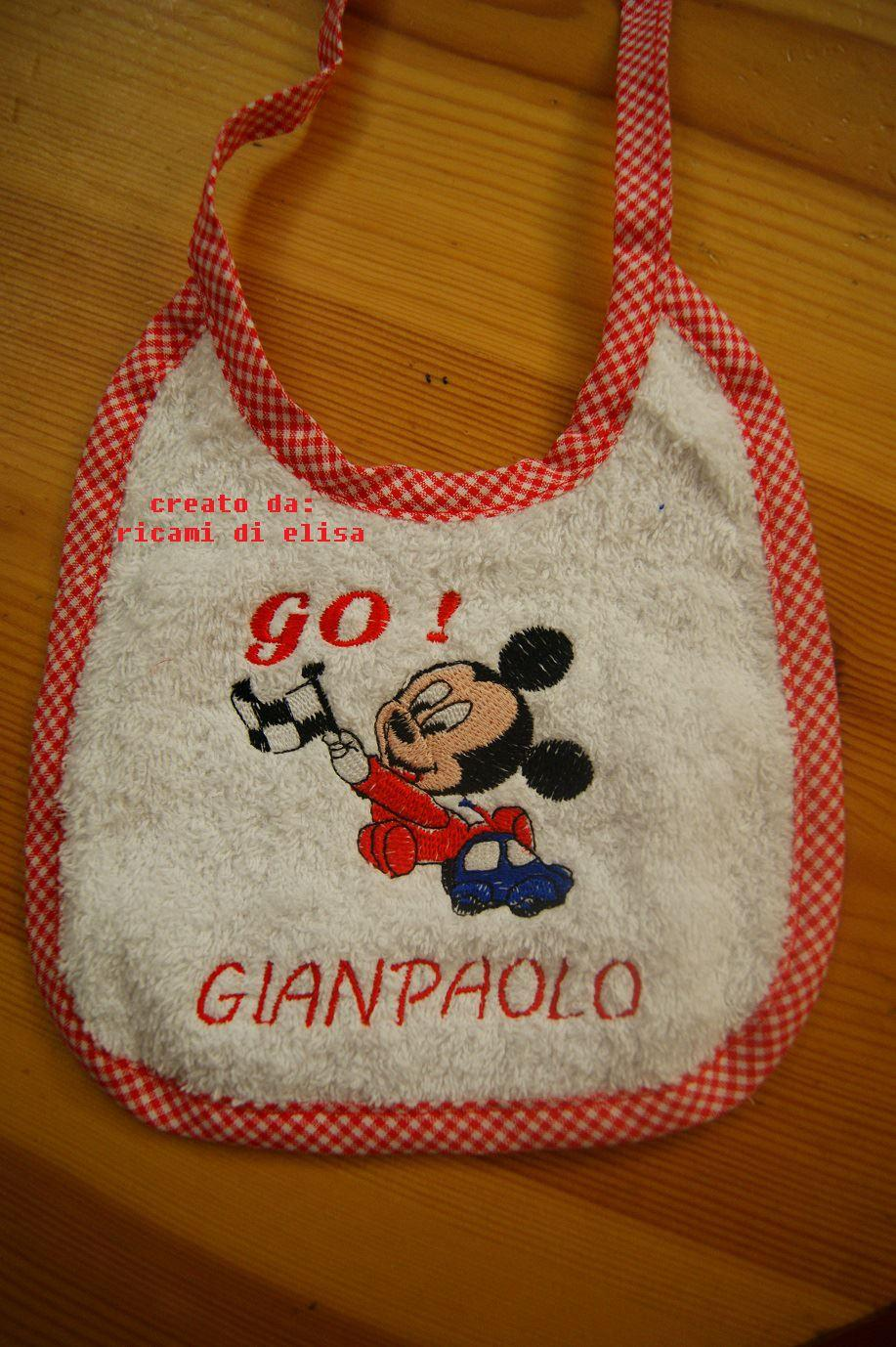 Baby bib with Mickey Mouse Racing embroidery design
