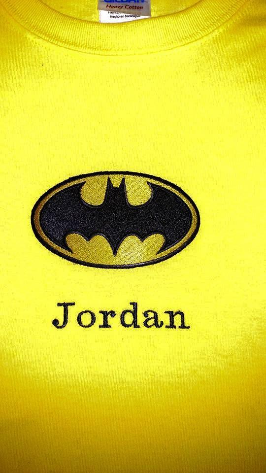 Shirt with Batman logo embroidery design