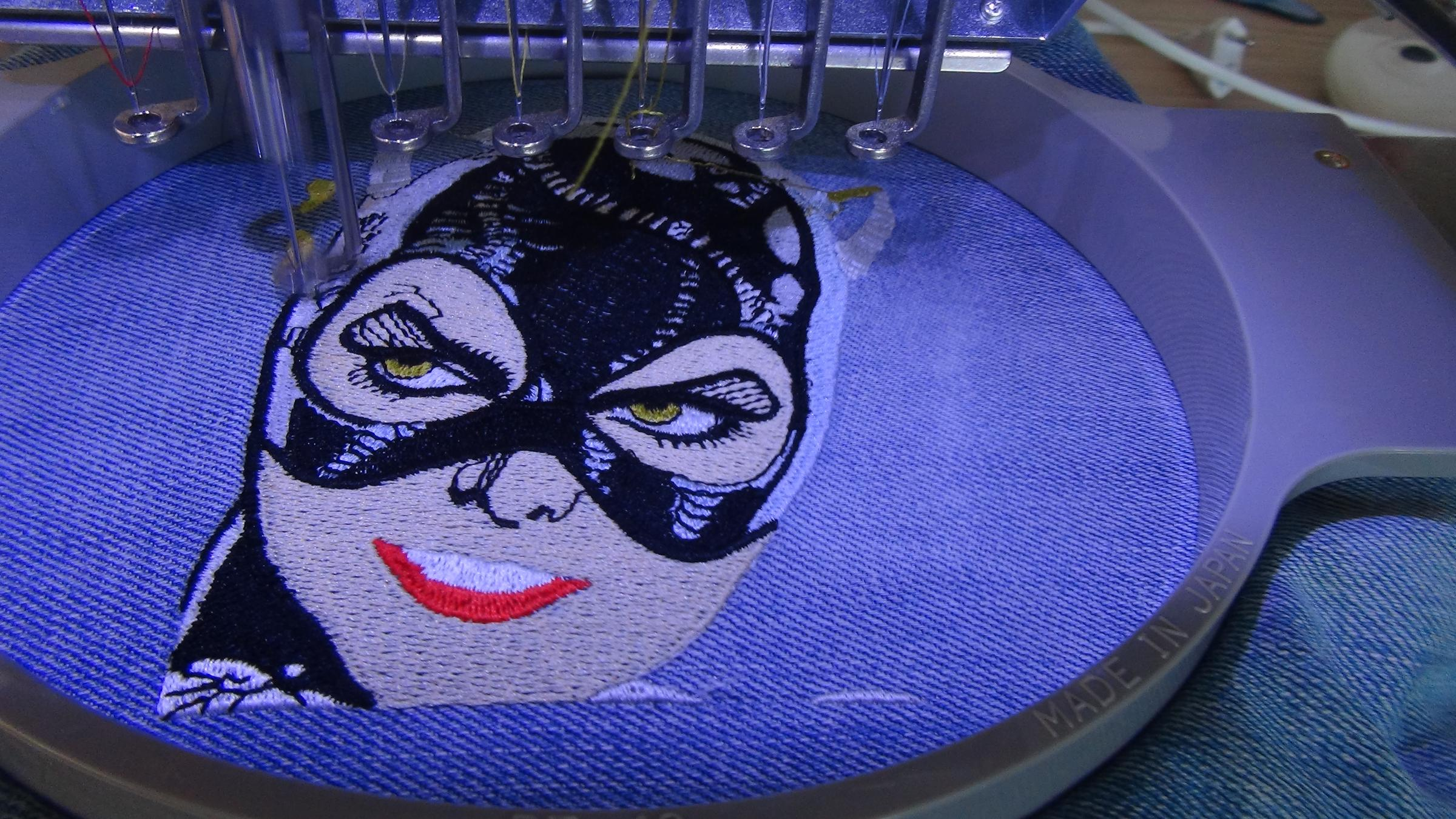 In hoop process Catwoman embroidery design