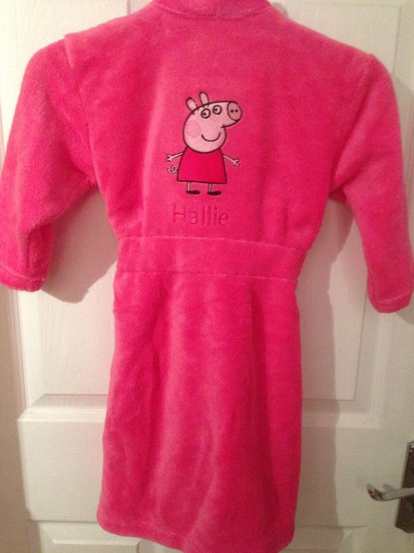Baby bathrobe with Peppa Pig embroidery design
