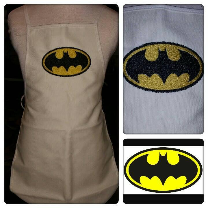 Kitchen apron with Batman logo embroidery design