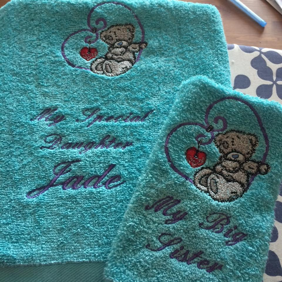 Two towels with Tatty Teddy My love embroidery design