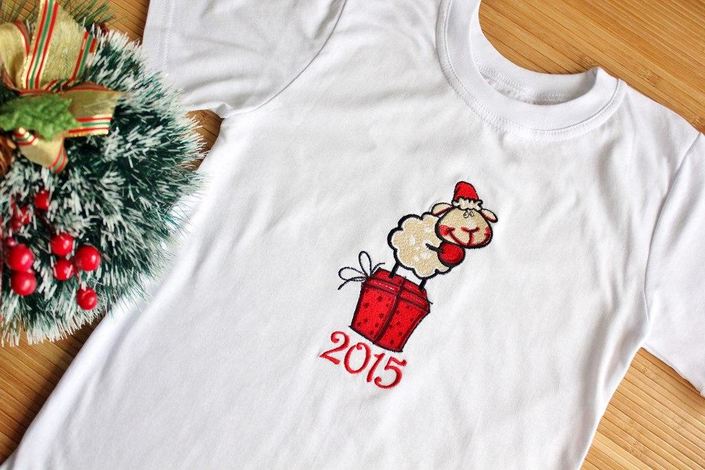 T-shirt with Waiting for present embroidery design