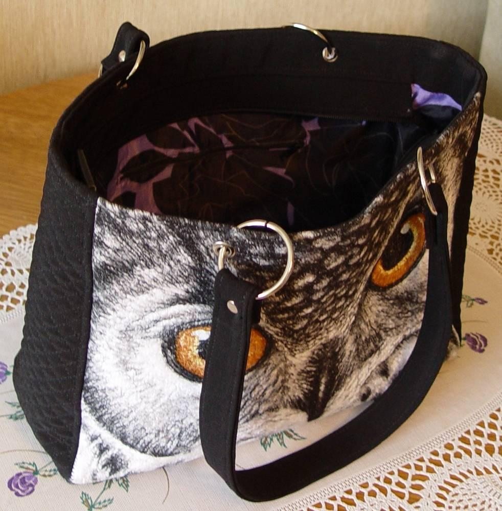 Bag with owl photo stitch free embroidery design