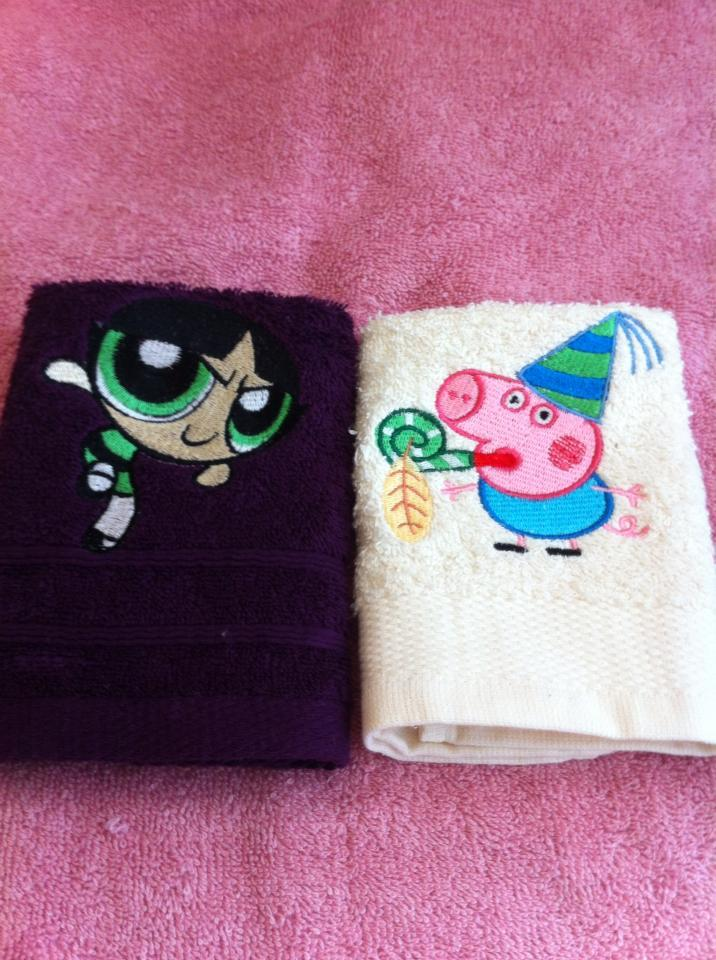 Towels with Peppa Pig and Powerpuff girls embroidery designs
