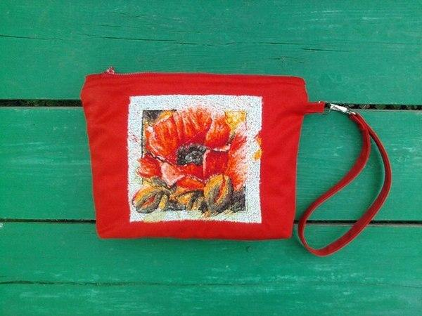 Small bag with poppy photo stitch embroidery design