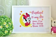 Framed Minnie Mouse and moon embroidery design